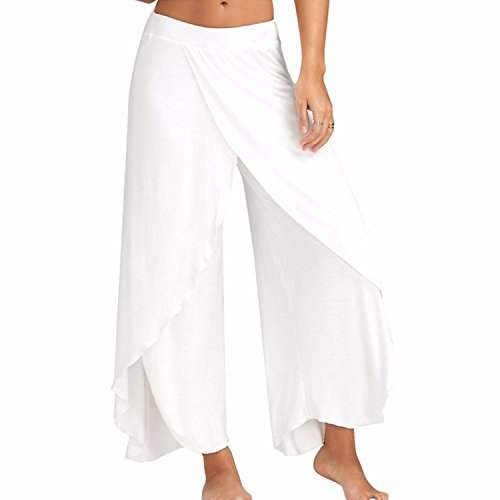 COLO Women's Pants Cropped Palazzo Wide Leg High Split Layered Solid Flowy Casual Lounge Trousers #4 White (XL)