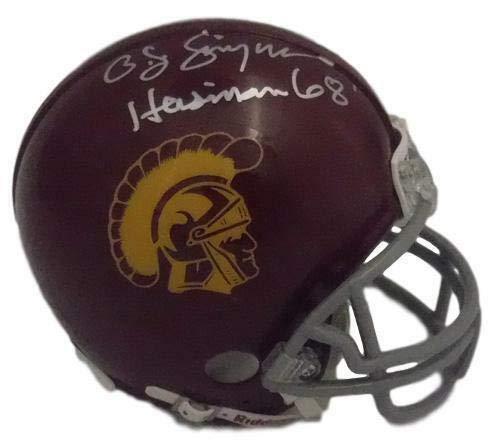 (OJ Simpson Autographed USC Trojans Mini Helmet Heisman 68 in Silver JSA)