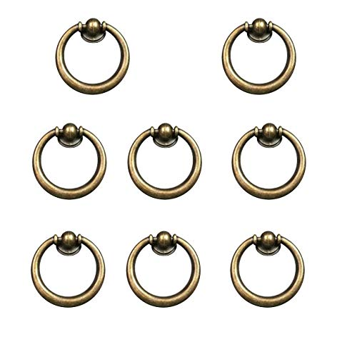 Furniture Ring Pull - LICTOP Antique Look Drop Ring Drawer Pulls Knobs Dresser Chrome Furniture Hardware Handle 8 Pcs