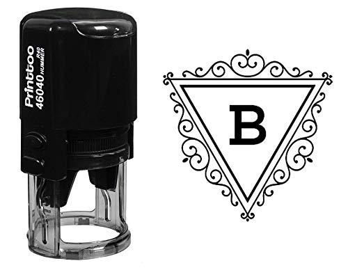 Printtoo Swirl Border Triangle B Alphabet Monogram Initial R-40 Self Inking Rubber Stamp Office Stationary ()