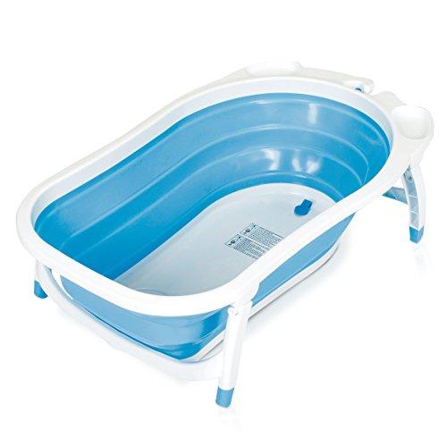 Baby Trend Karibu Folding Bath Tub, Blue/White