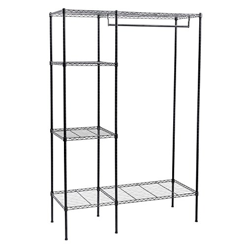 Songmics Shelving Garment Rack Heavy Duty Clothes Closet with Adjustable Shelves and Hanging Bar ULGR12P