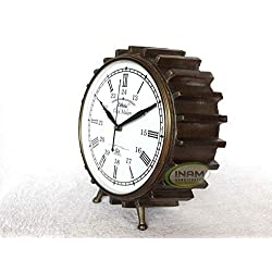 INAM Premium Quality Antique Designer Table Clock/Nautical Style Finish Ship surrounds an Antique Table Clock
