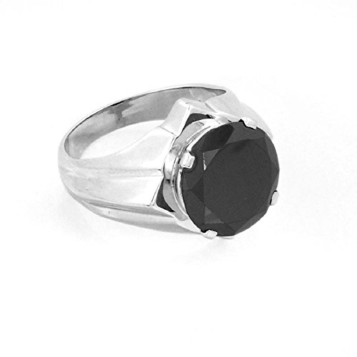 2.20 Cts Round Cut Black Diamond Ring in Silver Certified Earth Mined by skyjewels