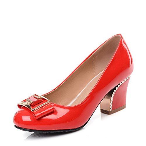 AllhqFashion Damen Rein Lackleder Mittler Absatz Ziehen auf Rund Zehe Pumps Schuhe Rot