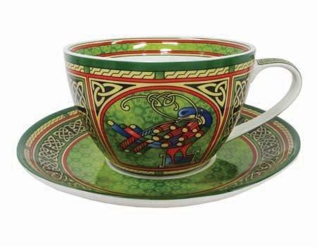 (Celtic Peacock Cup & Saucer - Irish Weave)