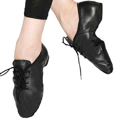 Boys Girls Jazz Ballet Dance Genuine Leather Shoes Lace Up Split Sole Black PMbtaaKVZ