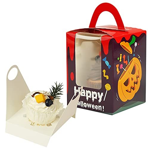 VGOODALL Halloween Cupcake Boxes, 30 pcs Single Cupcake Carrier with Window Insert and Handle Pastry Containers Muffins Cupcake Carriers Candy Containers for Bakery Wrapping Party Favor Packing