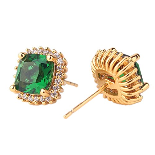 ODETOJOY Simulated Emerald Earrings Yellow Gold Stud Cuff Earring Crsystal Sqaure Zircon Fashion Earring for Women with Box