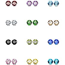 JewelrieShop Best Mothers Day Gifts Stainless Steel Cubic Zirconia Earrings for Sensitive Ears, Round Square Cuts Hypoallergenic Stud Earrings for Women Girl, 8-12 Pairs