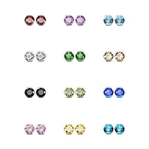 JewelrieShop Stainless Steel Cubic Zirconia Earrings for Sensitive Ears, Round Square Cuts Hypoallergenic Stud Earrings for Women Girl, 8-12 Pairs ()