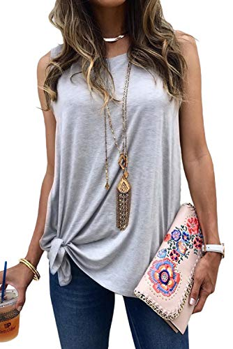 (MODARANI Self Tie Front Sleeveless Shirts for Women Gray Loose Tank Tops Flowy Blouse Solid L)