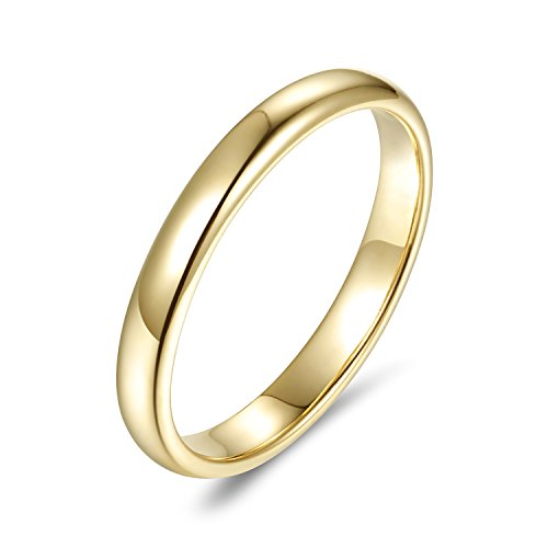 Lamrowfay Plain Comfort-fit 14K Gold Wedding Band, 3mm (Yellow-Gold, 5.5) ()