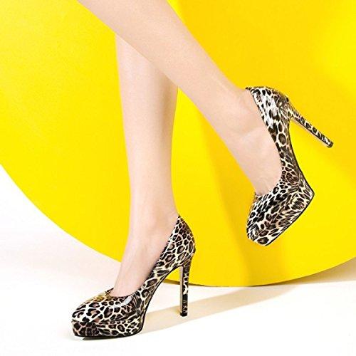 Frauen Flache Schuhe Mit Hohen Absätzen Sexy Leopard Spitzen Leder Plattform High Heels Damen Stiletto Party Hochzeit Abend Nachtclub Kleid Schuhe Khaki