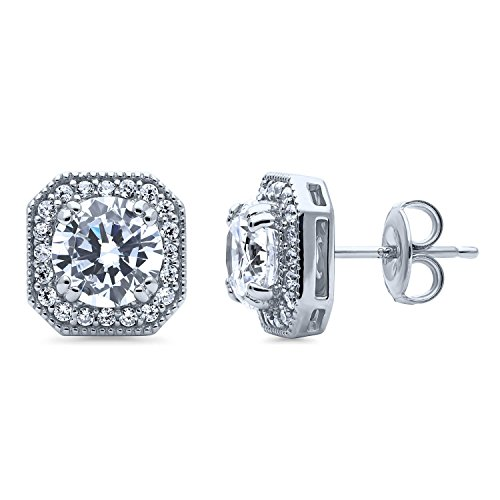 - BERRICLE Rhodium Plated Sterling Silver Round Cubic Zirconia CZ Art Deco Halo Anniversary Wedding Stud Earrings
