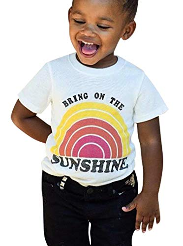 Bring On The Sunshine Toddler T-Shirt Summer Baby Girls Short Sleeve Cute Graphic Print Tee Top Size 1-2 Years/Tag90 (White) Cute Graphic Toddler T-shirt