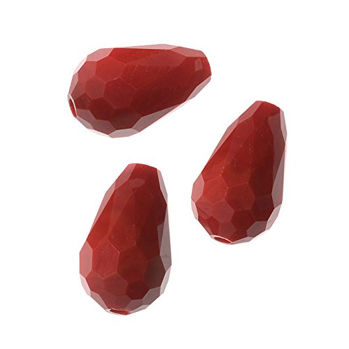 Simulated Ruby Glass Beads, 10x15mm Faceted Drops, 10 Pieces, Ruby Red