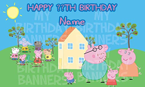 (Peppa Pig Party Happy Birthday Banner Personalized/Custom)