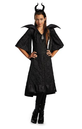 Maleficent Girls Costumes (Disney Maleficent Movie Christening Black Gown Girls Classic Costume Lg 10-12)