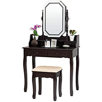Black Brown Fineboard FB-VT23-BK Dressing Mirror LED Lights and Stool Makeup Vanity Table
