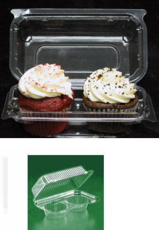 Cakesupplyshop Packaged Clear Cupcake Muffin Double (2) Base Twin Cupcake Container Box Plastic 25 Pieces -Holds 2cupcakes Each