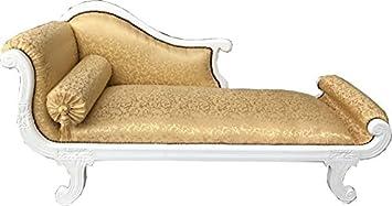 Casa Padrino Baroque Chaise Longue Model XXL Gold Pattern White