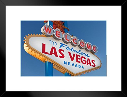 Poster Foundry Welcome to Fabulous Las Vegas Sign Photo Art Print Matted Framed Wall Art 20x26 inch