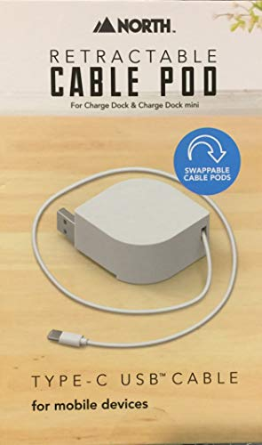 North Retractable USB-C Pod for Charging Dock, White, 813125028107
