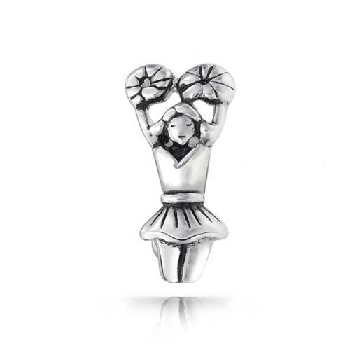 eader Charm 925 Sterling Silver Sports Bead (Cheerleading Sterling Silver Bracelets)