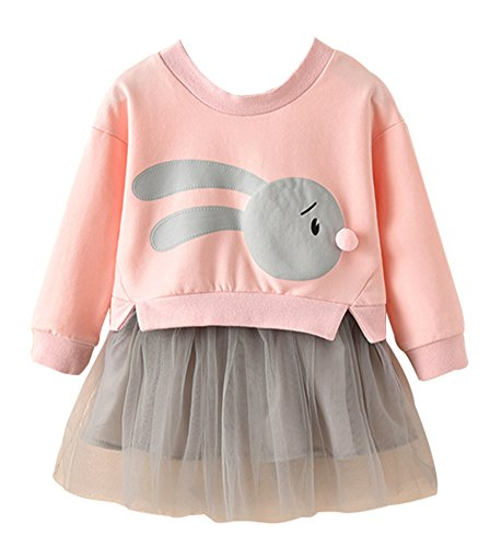Toddler Bunny Top and Tutu Skirt, Cute Little Baby Girls Fancy Princess Tulle Frock Dress(Pink,130) ()