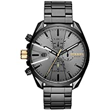 Diesel Men's Ms9 Chrono Quartz Watch with Stainless-Steel Strap, Black, 10 (Model: DZ4474