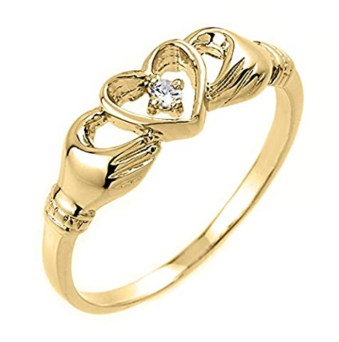 High Polish 10k Yellow Gold Diamond Solitaire Claddagh Ring (Size 7) (Womens Gold Claddagh Ring)