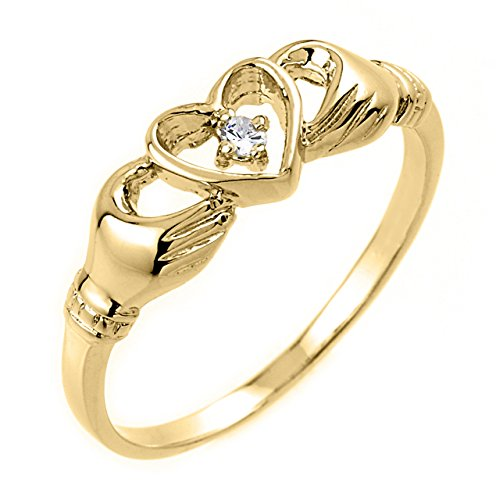 Yellow Gold Ladies Claddagh Ring (High Polish 10k Yellow Gold Diamond Solitaire Claddagh Ring (Size 7))