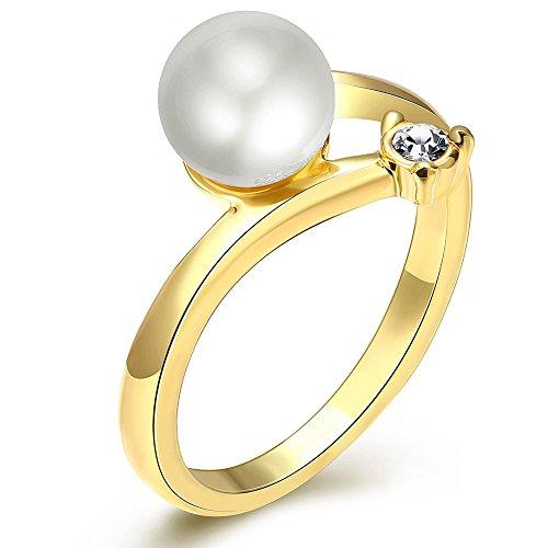 Fashion Women Charms Jewelry Rhine Stone Gold Plated Romantic Circular Statement Rings (Tin Man Nose)