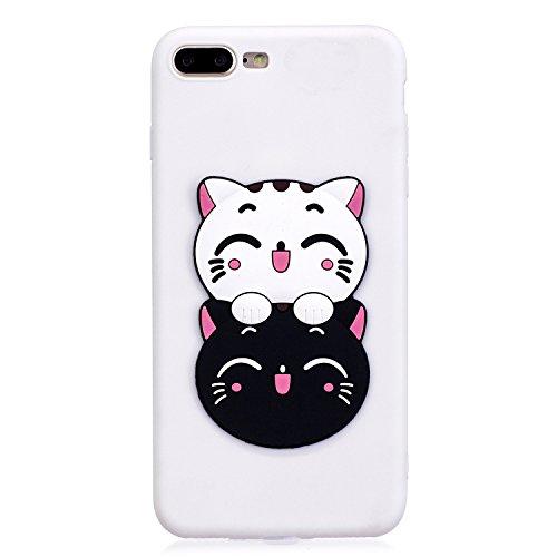 iPhone 7 / 8 Plus Hülle , Leiai 3D Süße Katze Leicht TPU Weich Tasche Schutzhülle Silikon Etui Handyhülle Stoßdämpfende Schale Fall Case Shell für Apple iPhone 7 / 8 Plus