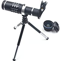 3 in 1 Smart Phone Lenses Kit, 18X Optical Zoom Telephoto Lens + 0.45X Wide Angle Lens + 15X Macro Lens, Mini Tripod with Special Clip for iPhone, Samsung, HTC and Most Mobile Phone (Black)