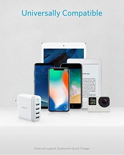Anker 40W 4-Port USB Wall Charger with Foldable Plug, PowerPort 4 for iPhone XS / XS Max / XR / X / 8 / 7 / 6 / Plus, iPad Pro / Air 2 / Mini 4 / 3, ...
