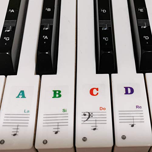 Piano Stickers for Keys, Yalloy Colorful Piano Keyboard Stickers for 88 61 54 49 Full Set Stickers Removable and Transparent, Leaves No Residue, Ideal for Piano Beginners Learning Piano or Keyboard
