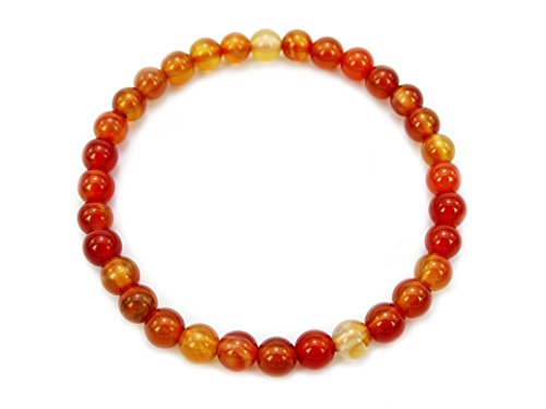 jennysun2010 Handmade Natural Carnelian Agate Gemstone Smooth Round Loose Beads 6mm Stretchy Bracelet Healing  8'' Inches Wrist ( 34pcs Beads in The Bracelet )