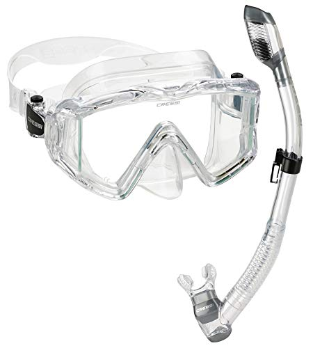 Cressi Panoramic Wide View Mask Dry Snorkel Set, transparente