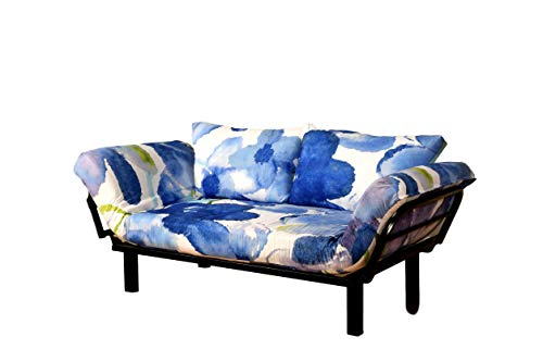 Best Futon Lounger Sit Lounge Sleep Smaller Size Furniture is Perfect for College Dorm Bedroom Studio Apartment Guest Room Covered Patio Porch Key Kitty Key Chain Included (BlueFlower) (Furniture Lounge Painted)