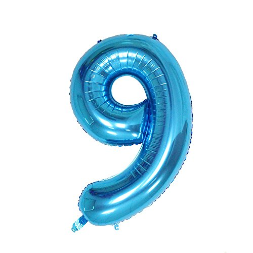 Ruimeier Number 9 Balloon ( 40 INCH ) Blue Digital Party Balloons Aluminum Mylar Balloon for Birthday Decorations Wedding Anniversary Baby Bridal Shower BA09BL