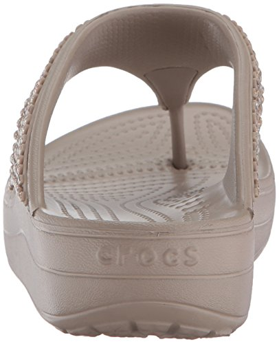Crocs Sloane Embellished, Sandalias Flip-Flop para Mujer Mushroom
