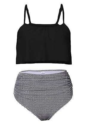 Aleumdr Womens Ruffle Crop Top High-Waisted Padded Bikini Set Swimsuit Thin Shoulder Straps Sexy Swimwear S Size Black