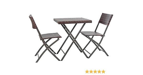 Conjunto de poliratán, de 3 piezas, marrón oscuro, mesa y sillas ...