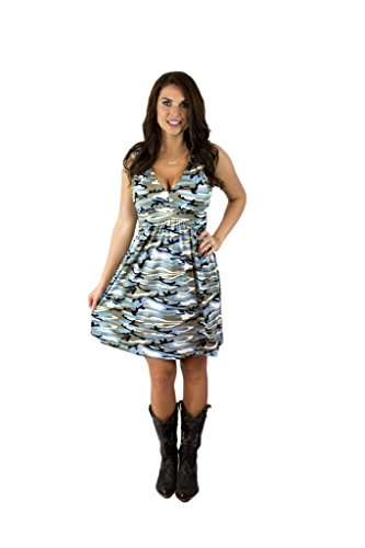 Charm Your Prince Women's Sleeveless Summer Blue Camo Camouflage Sundress S -