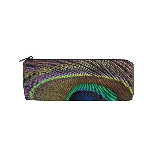 AHOMY Peacock Feather Round Pencil Case Stationery Bag Zipper Pouch Pencil Holder -
