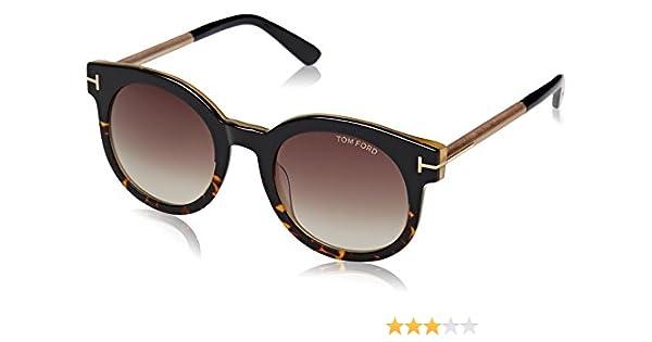 322d5572ec1 Amazon.com  Tom Ford Women FT0435 JANINA 51 Black Red Sunglasses 51mm   Clothing