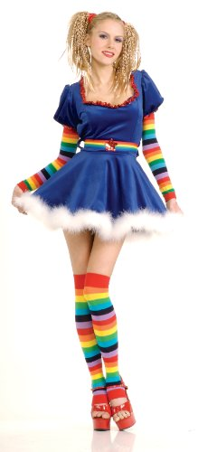Secret Wishes Sexy Rainbow Girl Costume, Blue, Small (Adult Simple Halloween Costumes)