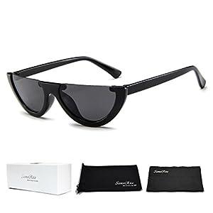 SamuRita Bold Half Lens Frame Cat Eye Sunglasses Mod Tinted Retro Shades(Black+Black Frame)